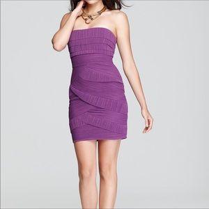 BCBG strapless purple ruffle dress